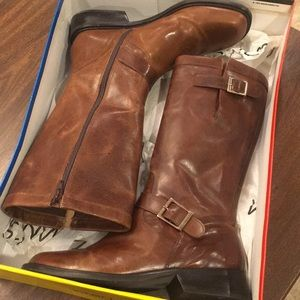 Matisse brown leather buckle boots
